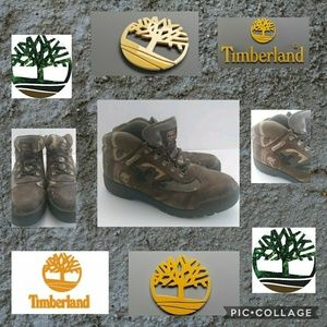 Vintage Timberland Mens Leather Camo Boots Size 10